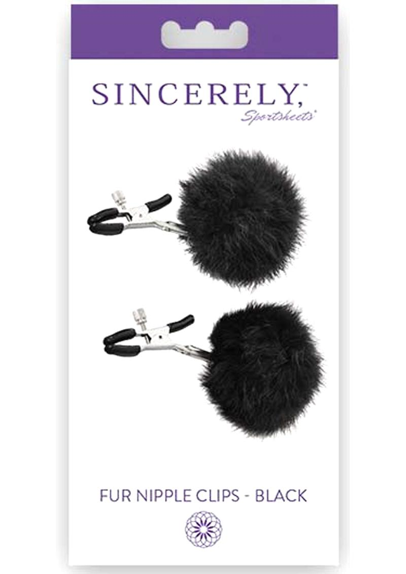 Sincerely Sportsheets Fur Nipple Clips Black