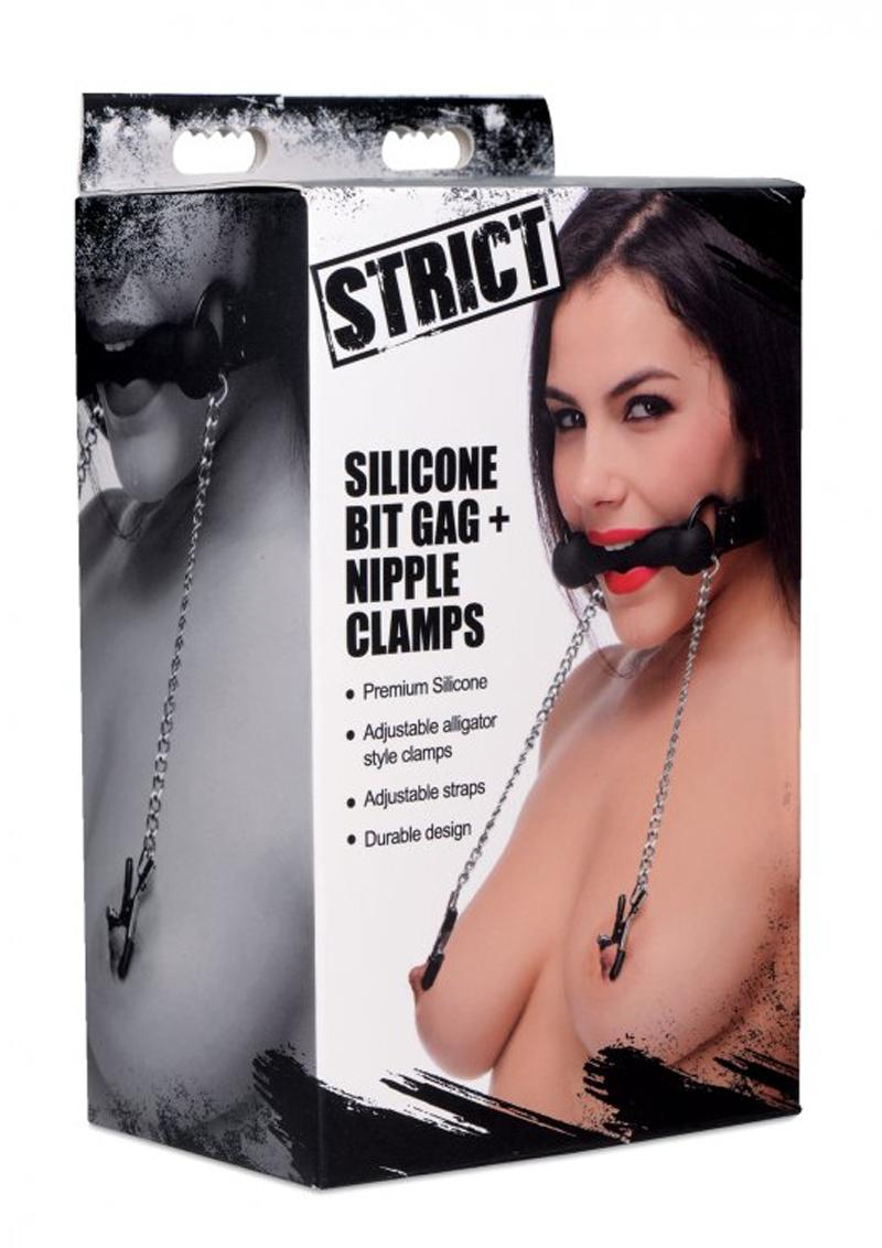 Strict Silicone Bit Gag And Nipple Clamps