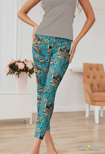 Teal Paisley Leggings