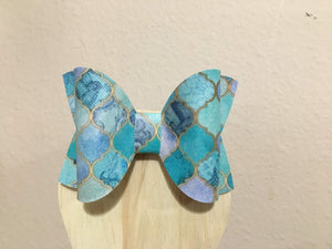 Blue Stained Glass Hair Bows