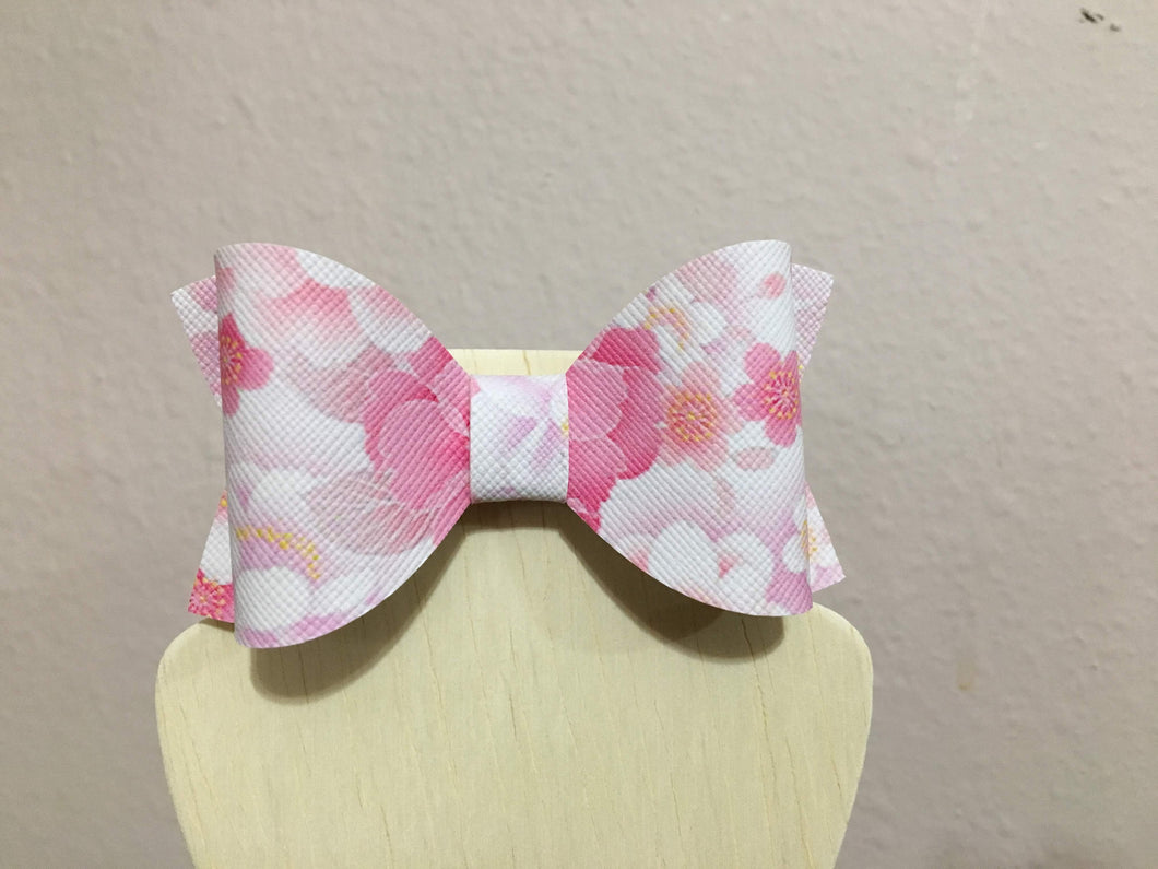 Pink Flowers Hair Bow