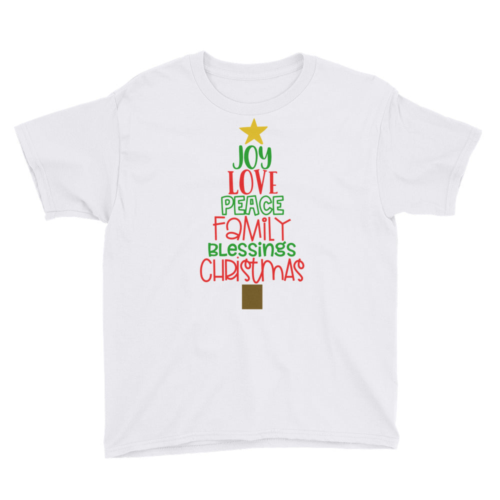 Christmas Tree Words - Youth Short Sleeve T-Shirt