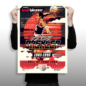 "Phenom Gallery Releases Clyde ""The Glide"" Drexler Artwork Celebrating Portland Trailblazers 50th Anniversary Season"