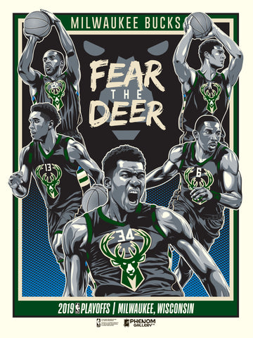 Milwaukee Bucks 2019 NBA Playoffs Serigraph (Printer Proof)- Presell Ships June 15th