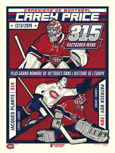 Montreal Canadiens Carey Price 315 Wins Serigraph (Printer Proof)