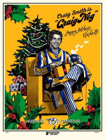 "Nashville Predators Craig Smith ""Craig Nog"" Serigraph (Printer Proof)"