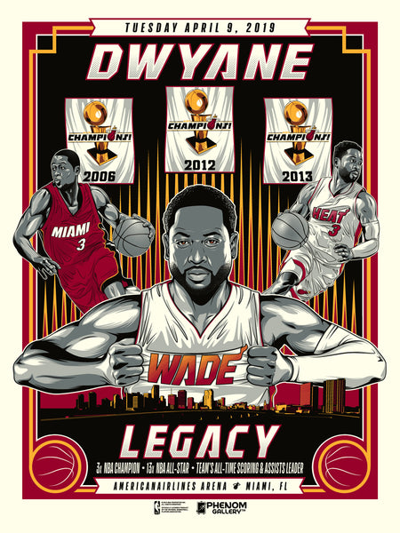 Miami Heat M.Fitz Dwyane Wade Legacy Last Game Serigraph (Printer Proof)