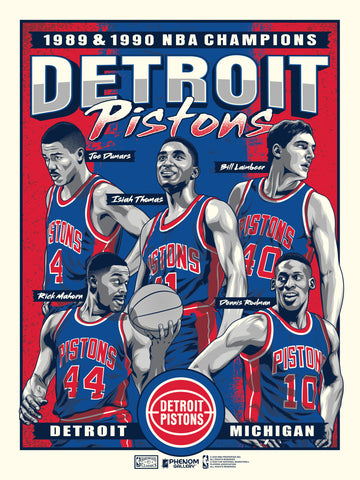"Detroit Pistons Back To Back Champions  18"" x 24"" Serigraph"