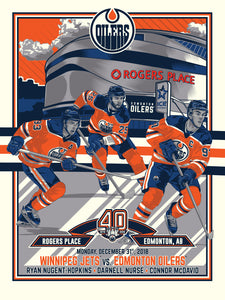 Edmonton Oilers 40th Anniversary 3 of 4 Serigraph (Printer Proof)- Presell Ships June 15th