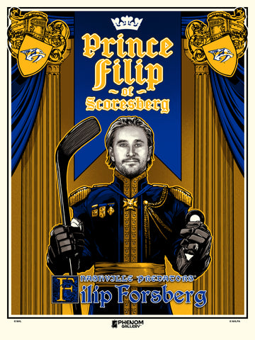 "Nashville Predators Filip Forsberg ""Prince"" Serigraph (Printer Proof)"