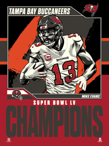 "Tampa Bay Buccaneers Super Bowl LV Mike Evans Champs 18""x 24"" Serigraph"