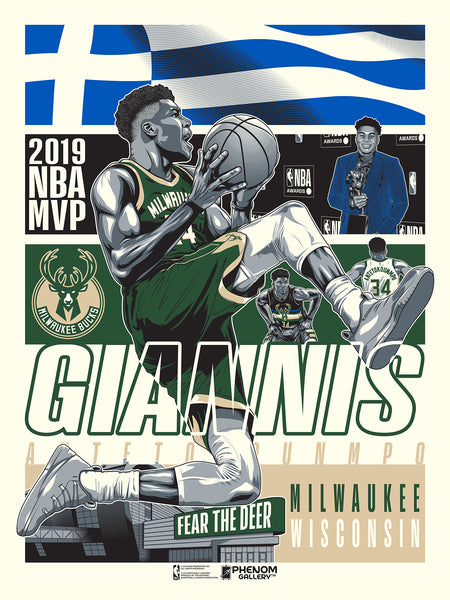 Milwaukee Bucks 2019 Giannis Birthday Serigraph (Printer Proof)