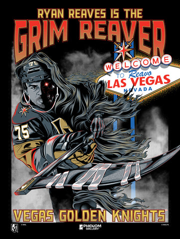 "Vegas Golden Knights ""Grim Reaver"" Black Light Serigraph (Printer Proof)"