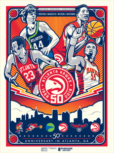 Atlanta Hawks 50th Anniversary In Atlanta Serigraph (Printer Proof)