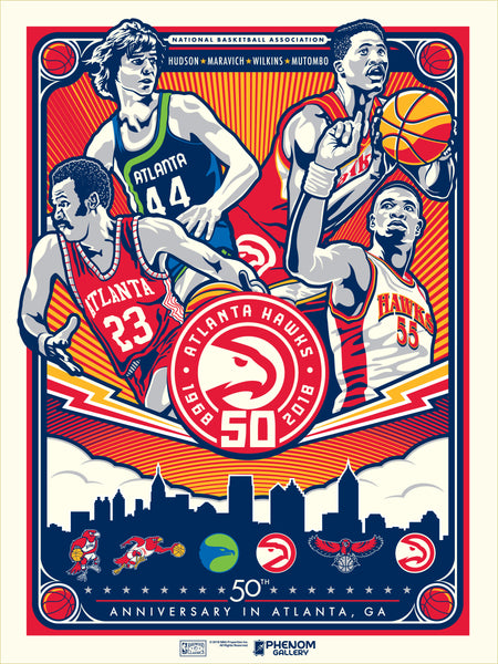 Atlanta Hawks 40th Anniversary In Atlanta Serigraph (Printer Proof)