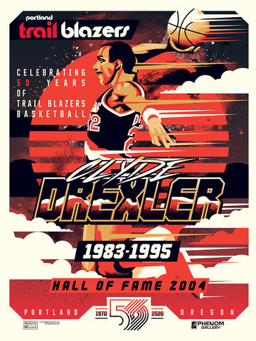 Portland Trailblazers 50th Anniversary Clyde Drexler Serigraph (Printer Proof)