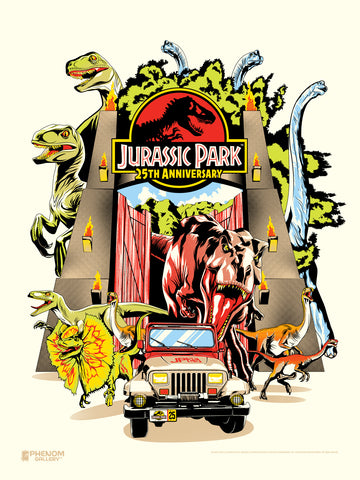 Jurassic Park 25th Anniversary Serigraph- Presell Ships June 15th