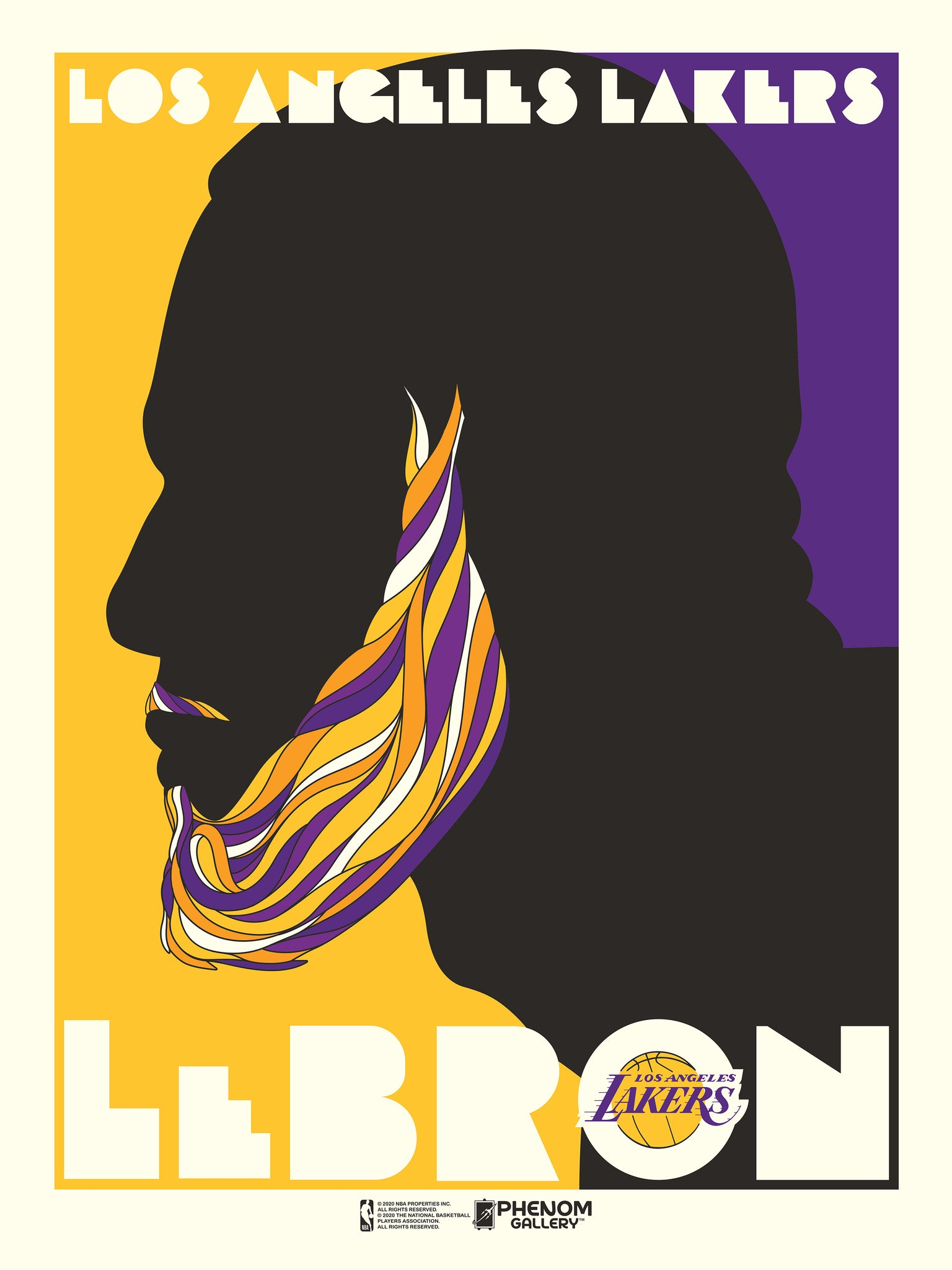 "Los Angeles Lakers LeBron James Pushglass Inspired 18"" x 24"" Serigraph"
