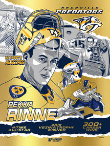 "Nashville Predators Pekka Rinne 18""x24"" Gold Foil Serigraph Print (Printer Proof) - Presell 6/15"