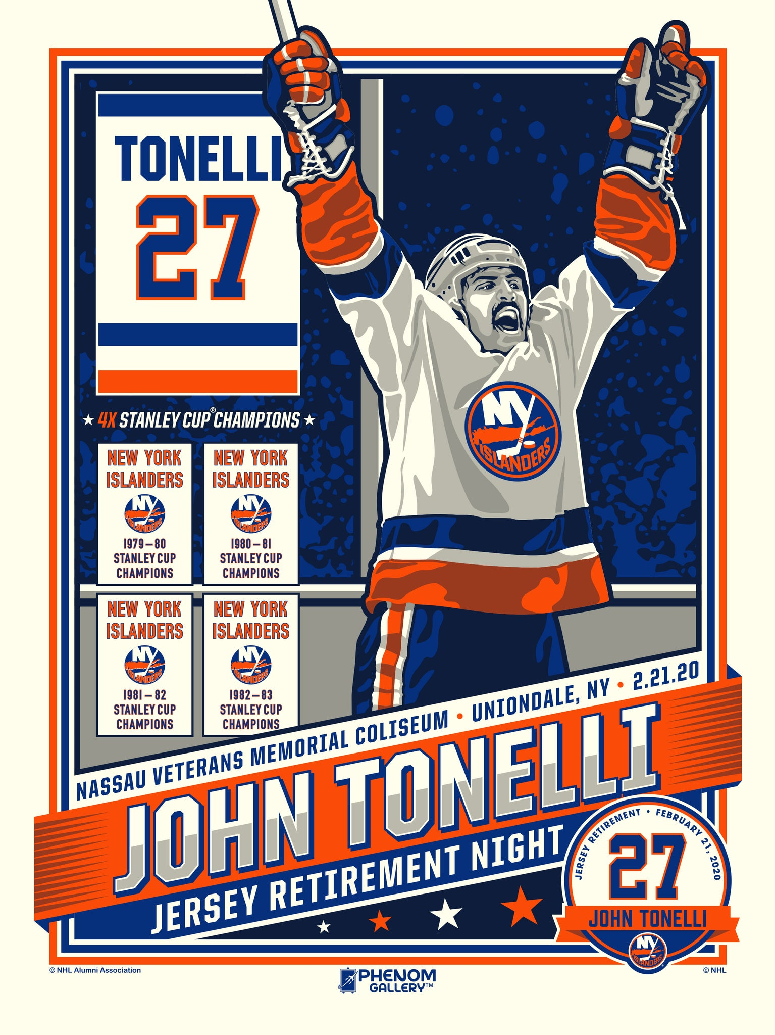 New York Islanders John Tonelli Number Retirement Serigraph- Presell Ships June 15th