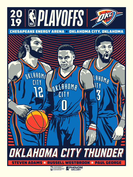 Oklahoma City Thunder 2019 NBA Playoffs Serigraph (Printer Proof)