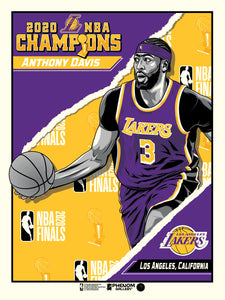 "Los Angeles Lakers 2020 NBA Champions Anthony Davis 18"" x 24"" Serigraph"