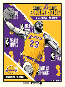 "Los Angeles Lakers 2020 NBA Champions LeBron James 18"" x 24"" Serigraph- PRESELL SHIPS 2-3 WEEKS"