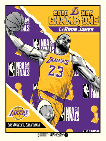 "Los Angeles Lakers 2020 NBA Champions LeBron James 18"" x 24"" Serigraph"