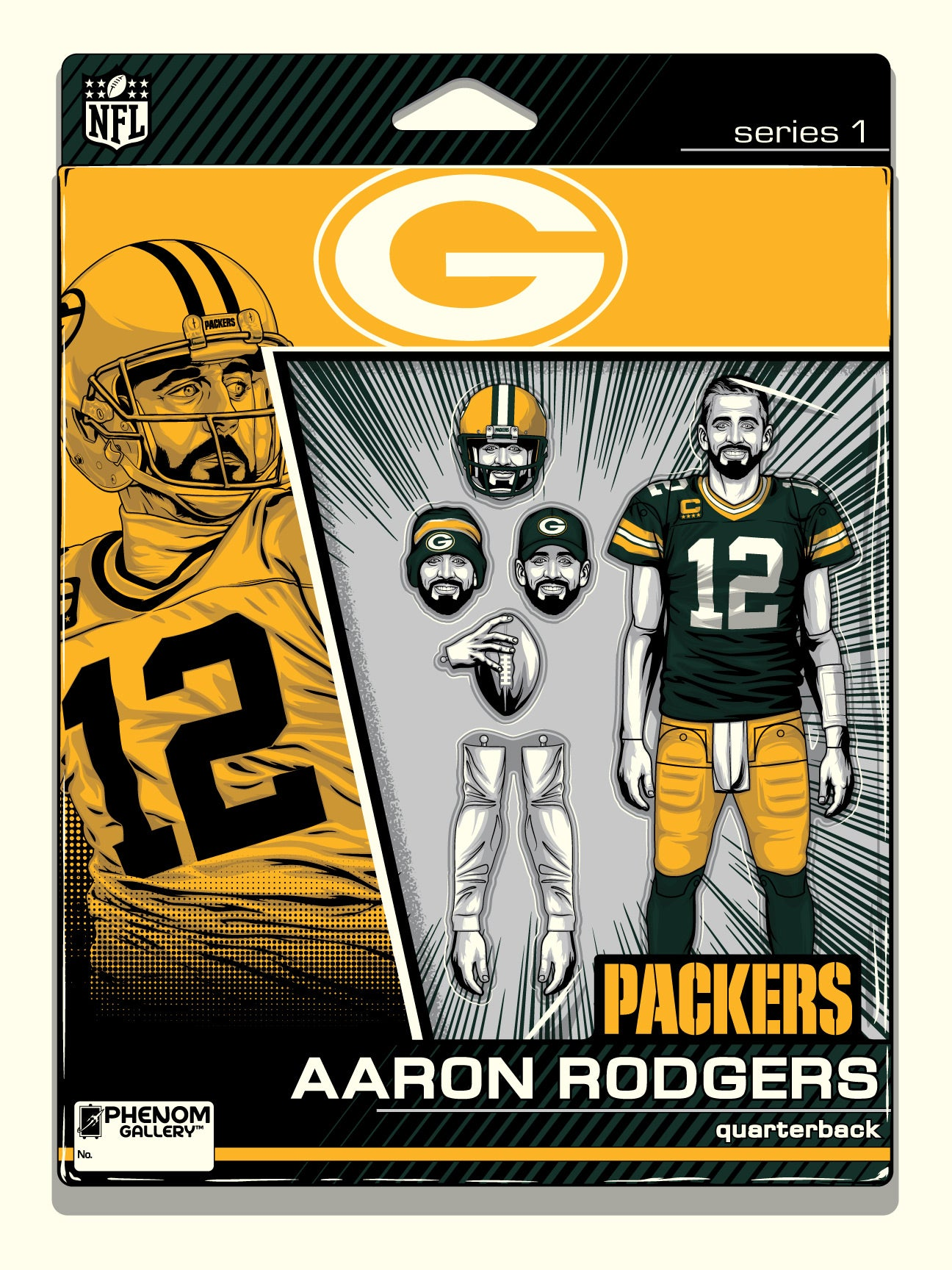 Green Bay Packers Aaron Rodgers Action Figure Serigraph