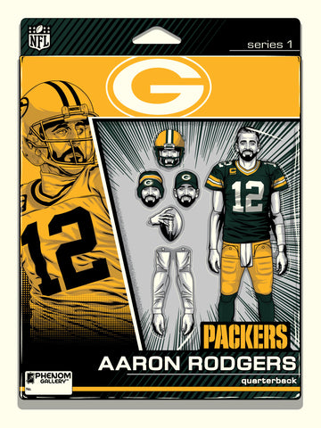 Green Bay Packers Aaron Rodgers Action Figure Serigraph- PRESELL SHIPPING JUNE 15