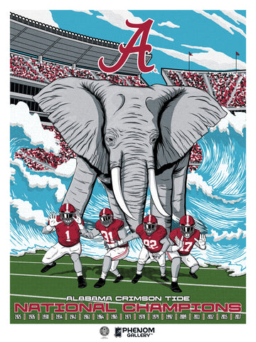 "Alabama Crimson Tide Championship History  18"" x 24"" Serigraph -PRESELL SHIPPING SEPT 25th"