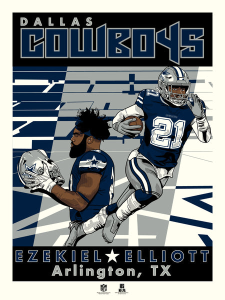 Dallas Cowboys Ezekiel Elliott Serigraph Print- PRESELL SHIPS OCTOBER 25TH