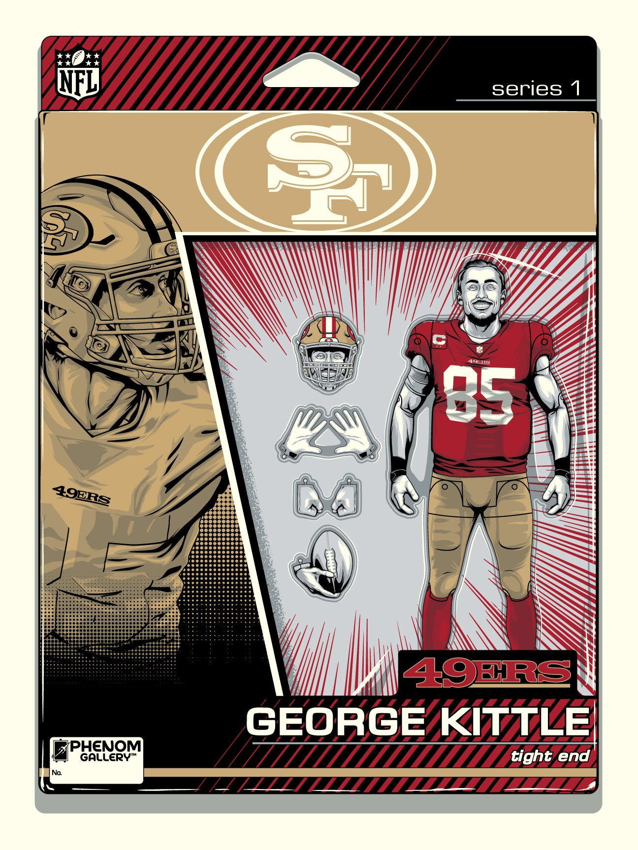 San Francisco 49ers George Kittle Action Figure Serigraph