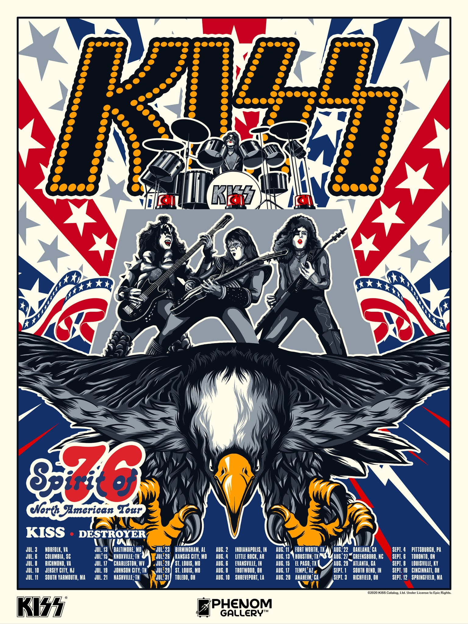 KISS Spirit of '76 North American Tour Serigraph Print - PRESELL SHIPPING JUNE 10