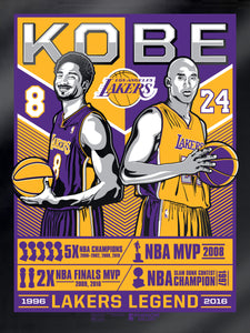 Los Angeles Lakers Kobe Legend Black Foil Serigraph
