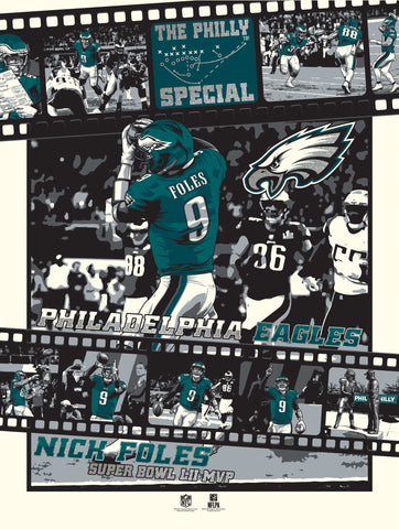 Philadelphia Eagles Super Bowl LII Legendary Moments Serigraph Print-PRESELL SHIPPING JULY 15th