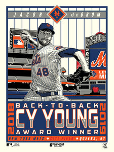 New York Mets Jacob DeGrom Back To Back Cy Young 18x24 Serigraph