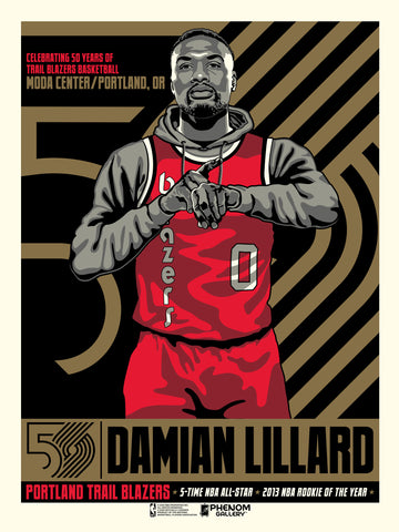 Portland Trailblazers 50th Anniversary Damian Lillard Serigraph (Printer Proof)