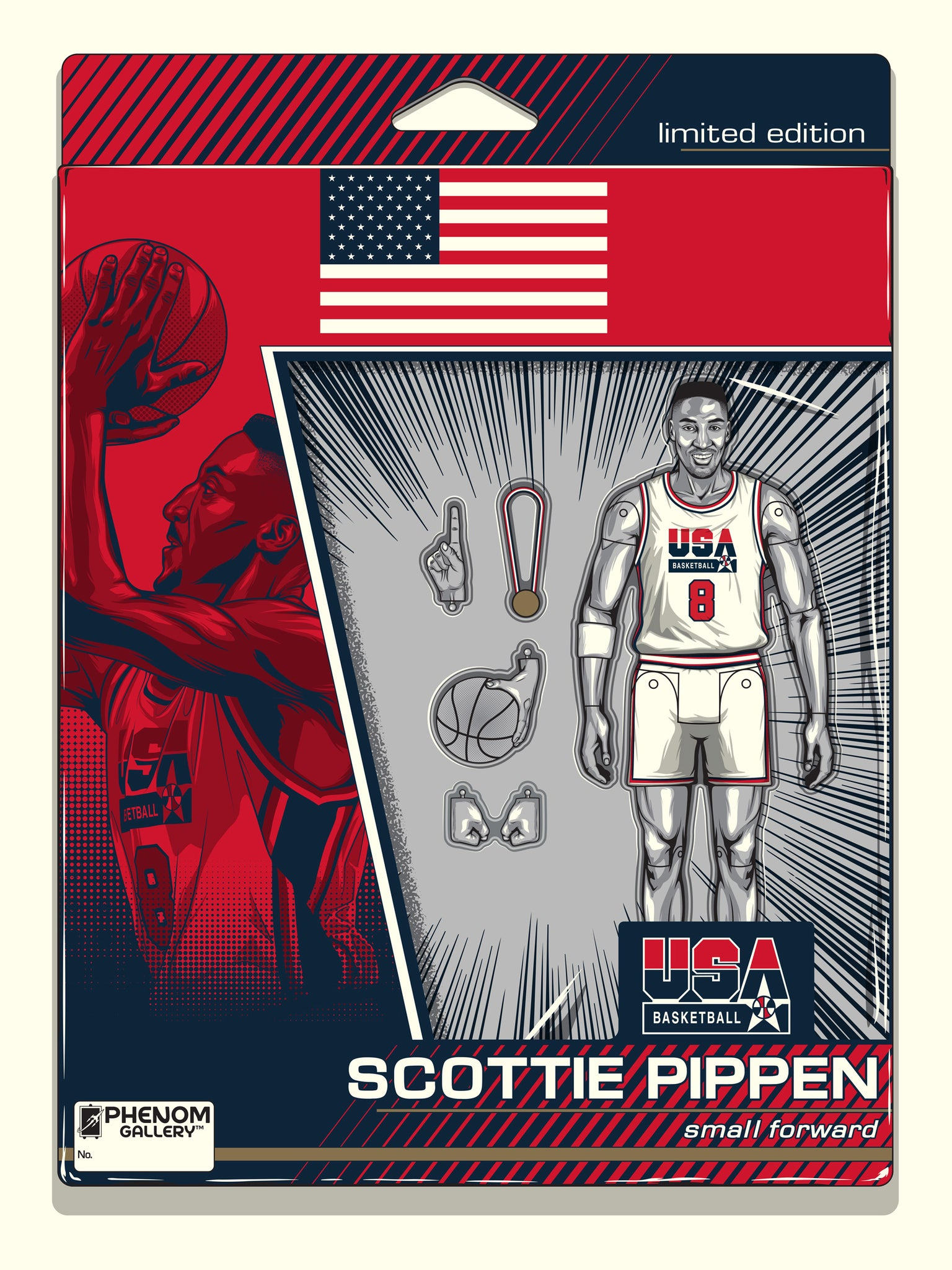 USA Basketball Scottie Pippen Action Figure Serigraph