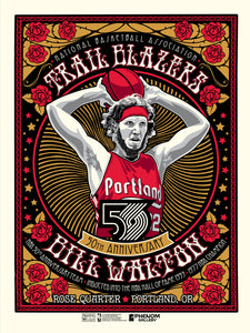 Portland Trailblazers 50th Anniversary Bill Walton Serigraph- Presell Ships June 15th