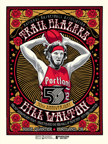 Portland Trailblazers 50th Anniversary Bill Walton Serigraph (Printer Proof)