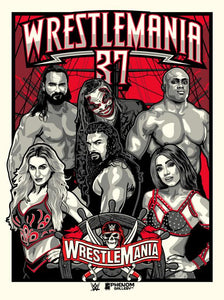 "WWE Wrestlemania 37 Limited Edition 18"" x 24"" Serigraph Print"