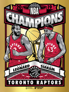 Toronto Raptors 2019 NBA Champions Limited Edition Foil Serigraph - Presell Ships June 15th