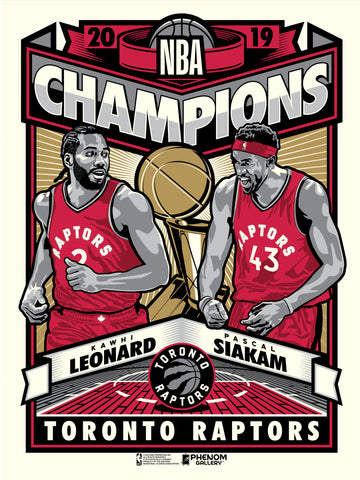 Toronto Raptors 2019 NBA Champions Limited Edition Serigraph- Presell Ships June 15th