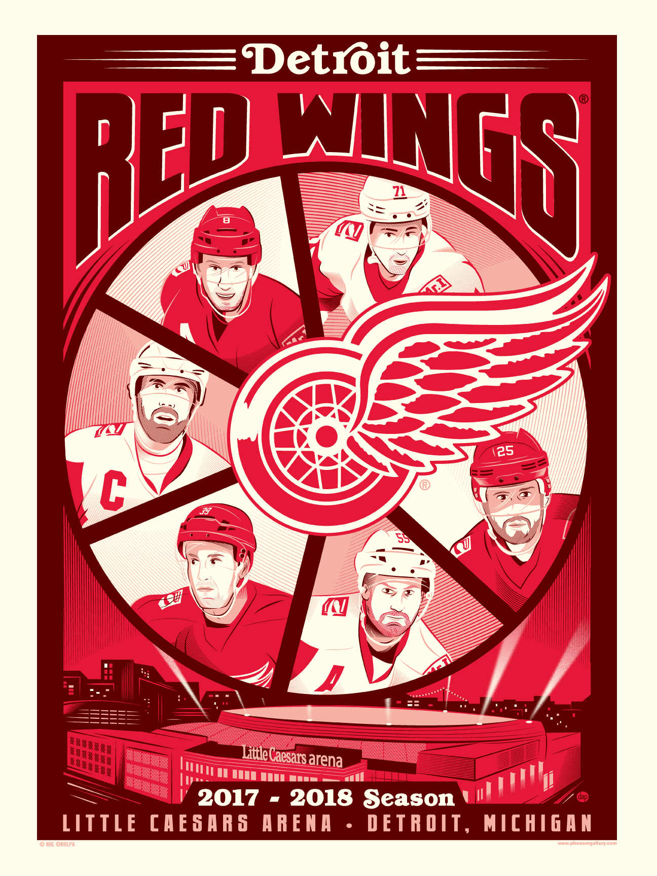 Detroit Red Wings 2017-18 Season Serigraph (Printer Proof)
