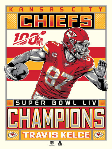 Kansas City Chiefs Super Bowl LIV Champions Serigraph Featuring Travis Kelce