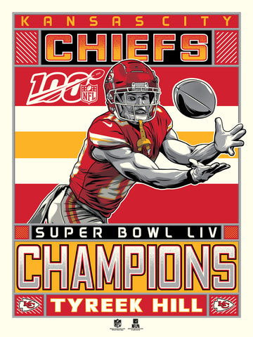 Kansas City Chiefs Super Bowl LIV Champions Serigraph Featuring Tyreek Hill