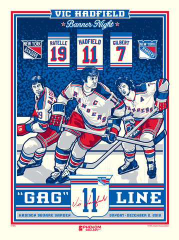 New York Rangers Vic Hadfield Number Retirement Serigraph (Printer Proof)
