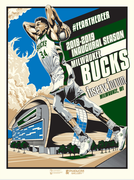 Milwaukee Bucks 2018-19 Season Serigraph (Printer Proof)