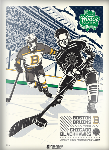 NHL Winter Classic 2019 at Notre Dame Stadium - Blackhawks vs Bruins Serigraph (Printer Proof)